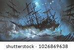 wrecked ships with pirate skull ... | Shutterstock . vector #1026869638