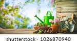 gardening tools and spring... | Shutterstock . vector #1026870940