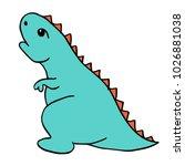 little blue dinosaur... | Shutterstock .eps vector #1026881038