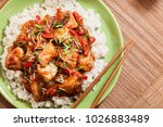 delicious chicken in sweet and... | Shutterstock . vector #1026883489