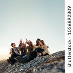 group of friends on a mountain... | Shutterstock . vector #1026892309