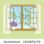open window with curtains on a... | Shutterstock .eps vector #1026893170