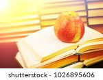 red apple on the opened book...   Shutterstock . vector #1026895606