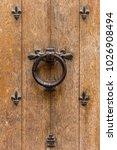 ancient wooden entrance door... | Shutterstock . vector #1026908494