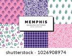 set of memphis seamless...   Shutterstock .eps vector #1026908974