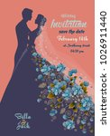 floral wedding invitation with... | Shutterstock .eps vector #1026911440