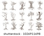 tree silhouettes on white... | Shutterstock .eps vector #1026911698
