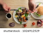 fresh salad with mixed greens... | Shutterstock . vector #1026912529