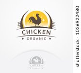 chicken organic logo. rooster... | Shutterstock .eps vector #1026922480