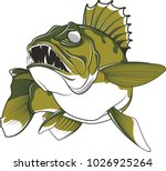 Aggressive Walleye Illustration