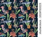 watercolor seamless pattern... | Shutterstock . vector #1026933223