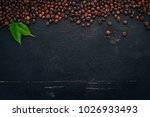 Coffee Beans. On A Wooden...