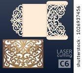 laser cut wedding invitation... | Shutterstock .eps vector #1026937456