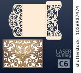 laser cut wedding invitation... | Shutterstock .eps vector #1026937474