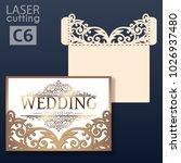 laser cut wedding invitation...   Shutterstock .eps vector #1026937480