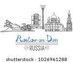 set of the landmarks of rostov... | Shutterstock . vector #1026961288