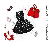 a set of fashionable women's... | Shutterstock .eps vector #1026964990