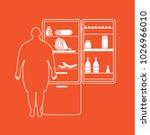fat man stands at the fridge... | Shutterstock .eps vector #1026966010