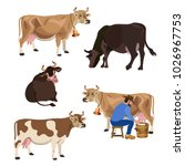 set of cows of different breeds.... | Shutterstock .eps vector #1026967753