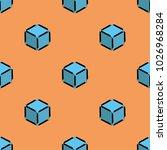 cube isometric pattern blue... | Shutterstock .eps vector #1026968284