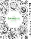 breakfasts top view frame.... | Shutterstock .eps vector #1026974710