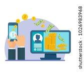 money transfer using mobile...   Shutterstock .eps vector #1026983968