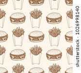 seamless pattern with a burger... | Shutterstock .eps vector #1026998140