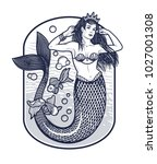 mermaid girl with crown.the sea ... | Shutterstock .eps vector #1027001308