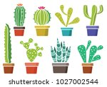 cacti in a pot. colorful set. | Shutterstock .eps vector #1027002544