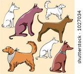 vector illustrations of dogs in ... | Shutterstock .eps vector #1027034