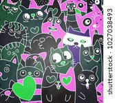 funny doodle cat icons  pattern.... | Shutterstock .eps vector #1027038493