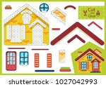 cut and glue the paper house.... | Shutterstock .eps vector #1027042993