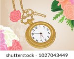 classic and vintage clock... | Shutterstock .eps vector #1027043449