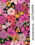 Floral Pattern With Hand Drawn...