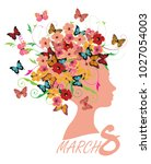 vector illustration of 8 march... | Shutterstock .eps vector #1027054003