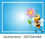 frame template with bee and... | Shutterstock .eps vector #1027062688