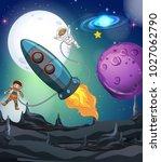 astronaut and spaceship in... | Shutterstock .eps vector #1027062790