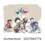 holi celebrations   boy playing ... | Shutterstock .eps vector #1027064776