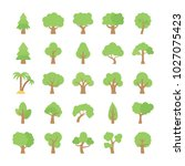 trees flat colored icons  | Shutterstock .eps vector #1027075423