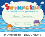 certificate template with kids... | Shutterstock .eps vector #1027078348