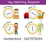 morning routines for children... | Shutterstock .eps vector #1027078354