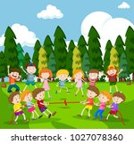 background scene with children... | Shutterstock .eps vector #1027078360