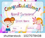 certificate template with boy... | Shutterstock .eps vector #1027078438
