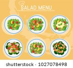different plates of salad on... | Shutterstock .eps vector #1027078498