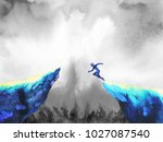 man jumping leap over to... | Shutterstock . vector #1027087540