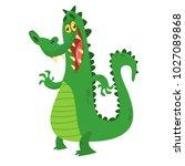 funny cartoon crocodile... | Shutterstock .eps vector #1027089868
