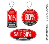 sale text on red tag banner for ... | Shutterstock .eps vector #1027100908