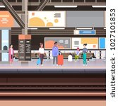 railway station platform with... | Shutterstock .eps vector #1027101853