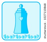 bottle. blue baby icon on a...   Shutterstock . vector #1027110868