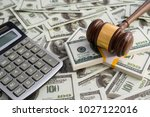gavel hammer judge money dollar ... | Shutterstock . vector #1027122016